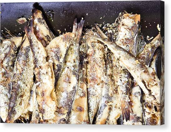 Fillet Canvas Print - Grilled Sardines by Tom Gowanlock
