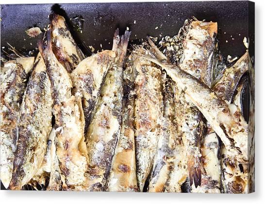 Fillet Canvas Print - Grilled Sardines by Tom Gowanlock