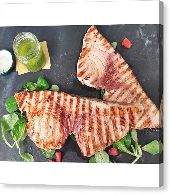 Swordfish Canvas Print - Grilled Swordfish For Lunch by Adriano La Naia