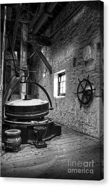 Grinder For Unmalted Barley In An Old Distillery Canvas Print