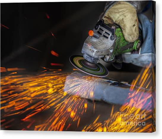 Grinding In A Steel Factory  Canvas Print