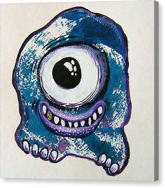 Grinning Monster Canvas Print by Nancy Mitchell