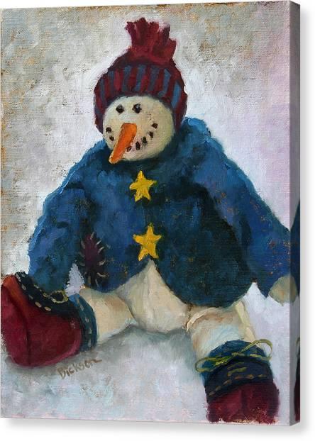 Grinning Snowman Canvas Print
