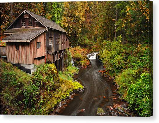 Grist Mill In Autumn Canvas Print
