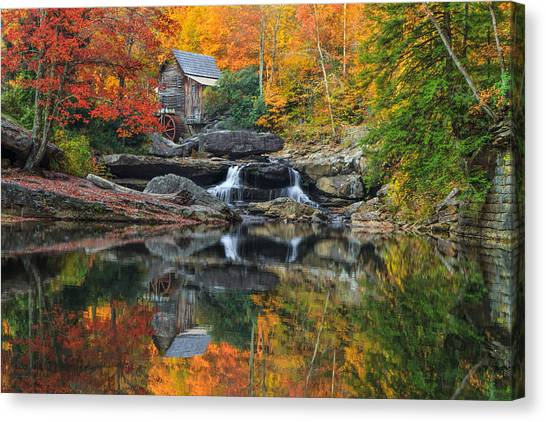 Grist Mill In The Fall Canvas Print