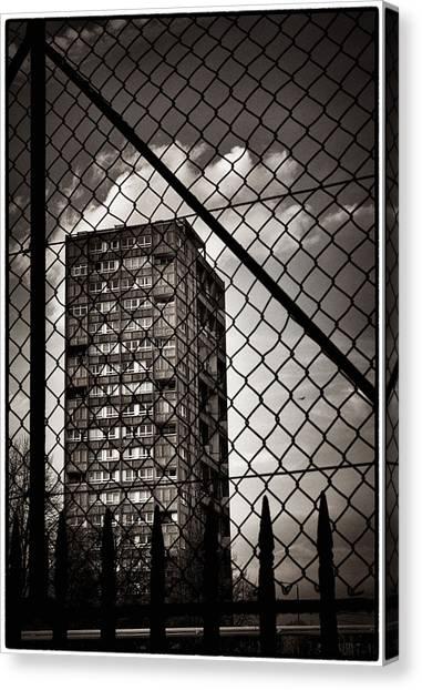 Gritty London Tower Block And Fence - East End London Canvas Print