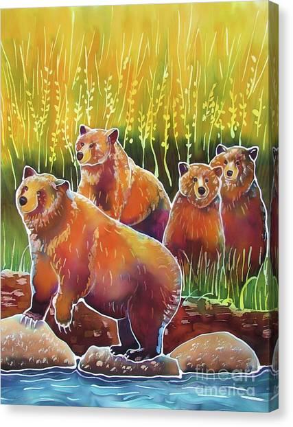 Grizzlies On Wapiti Creek Canvas Print by Harriet Peck Taylor