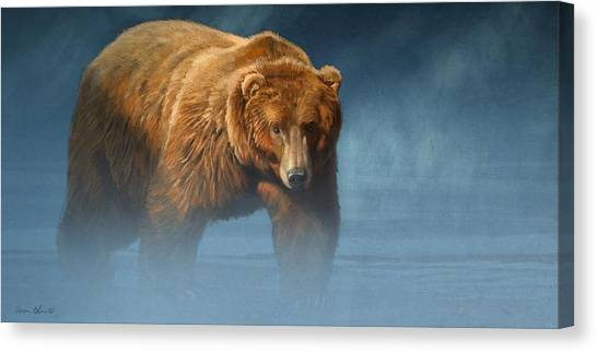 Bears Canvas Print - Grizzly Encounter by Aaron Blaise