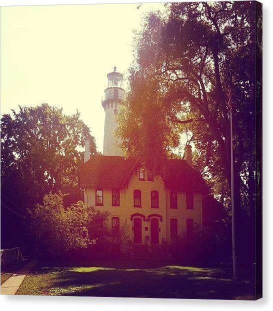 Lake Michigan Canvas Print - Grosse Point Lighthouse 1873 by Jill Tuinier