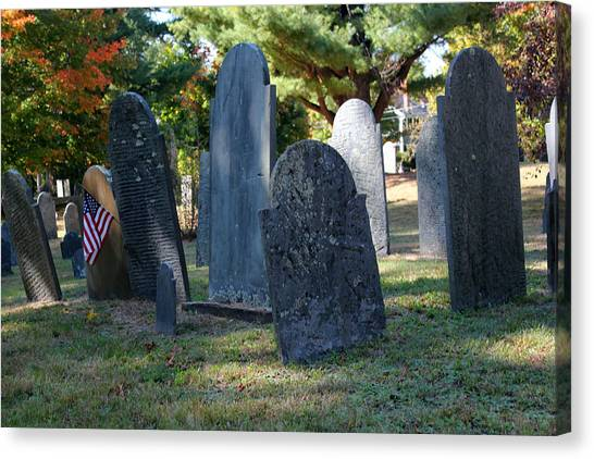 Groton Cemetery 3 Canvas Print by Mary Bedy