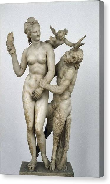 Hellenistic Art Canvas Print - Group Of Aphrodite And Pan. Ca.  100 by Everett