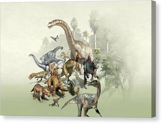 Velociraptor Canvas Print - Group Of Dinosaurs by Mikkel Juul Jensen