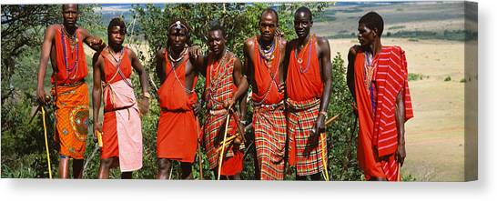 Plaid Canvas Print - Group Of Maasai People Standing Side by Panoramic Images