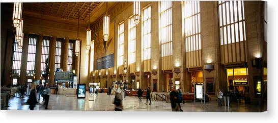Amtrak Canvas Print - Group Of People At A Station by Panoramic Images