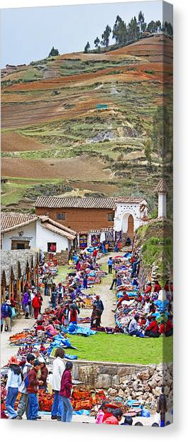 Andes Mountains Canvas Print - Group Of People In A Market, Chinchero by Panoramic Images
