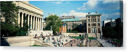 Columbia University Canvas Print - Group Of People In Front Of A Library by Panoramic Images