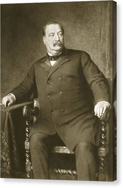 Presidential Portrait Canvas Print - Grover Cleveland by American School
