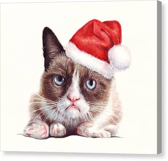 Xmas Canvas Print - Grumpy Cat As Santa by Olga Shvartsur