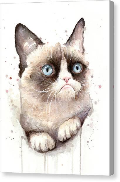 Cat Canvas Print - Grumpy Cat Watercolor by Olga Shvartsur