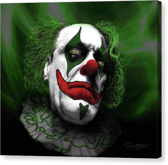 Grumpy Green Meanie Canvas Print