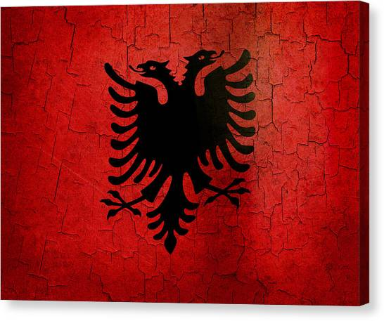 Grunge Albania Flag Canvas Print