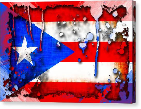Puerto Rico Canvas Print - Grunge And Splatter Puerto Rico Flag by David G Paul