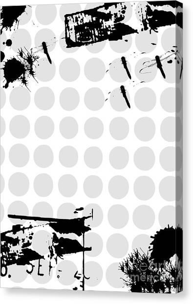 Grunge Background With Dragonfly Canvas Print by Ozkan