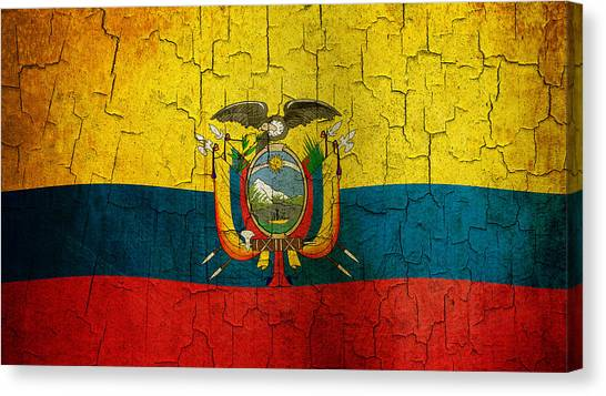 Grunge Ecuador Flag Canvas Print