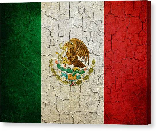 Grunge Mexico Flag Canvas Print