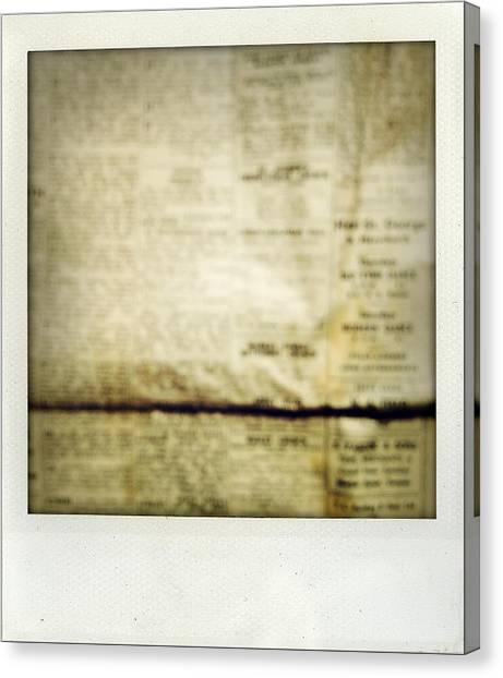Vintage Canvas Print - Grunge Newspaper by Les Cunliffe