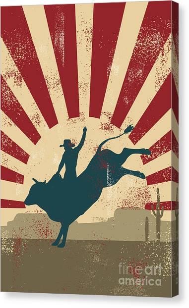 Sun Canvas Print - Grunge Rodeo Poster,vector by Seita