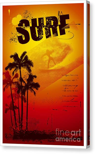 Surfboard Canvas Print - Grunge Surf Poster With Palms And Sunset by Locote
