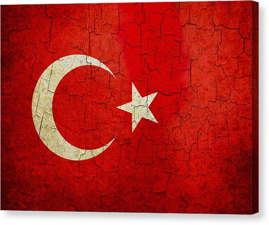 Grunge Turkey Flag Canvas Print