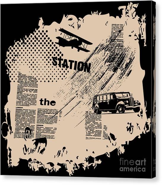 Powerful Canvas Print - Grunge Vector Background by Elanur Us