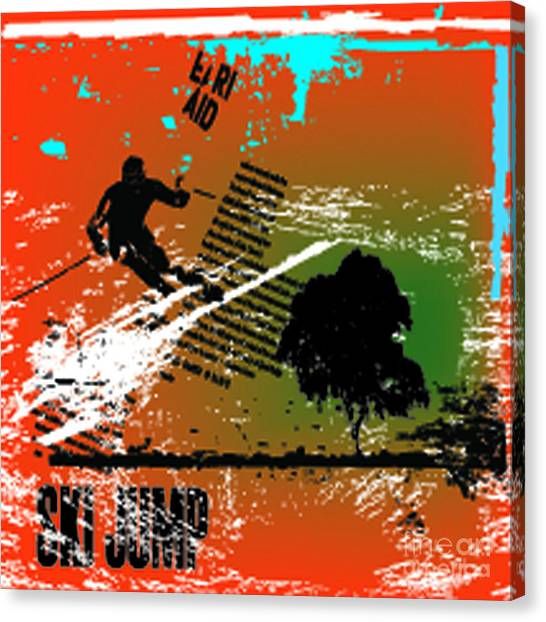 Speed Canvas Print - Grunge Winter Background With Skier by Elanur Us