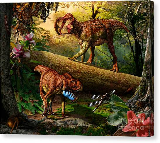 Gryphoceratops And Unescoceratops Canvas Print