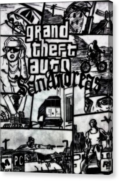 Grand Theft Auto Canvas Print - Gta-game To Art  by Shokeen Kalyan