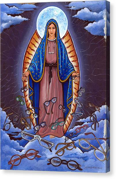 Guadalupe With Glasses Canvas Print