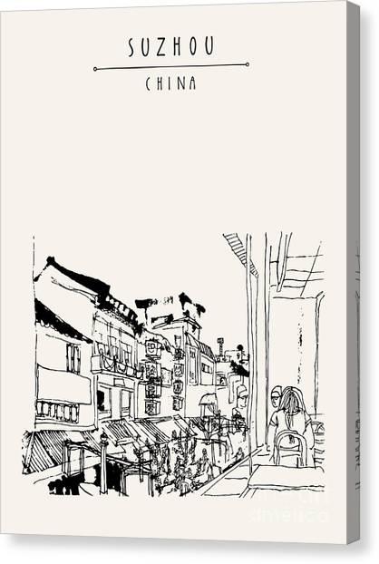China Town Canvas Print - Guanqian Street In Suzhou, Jiangsu by Babayuka