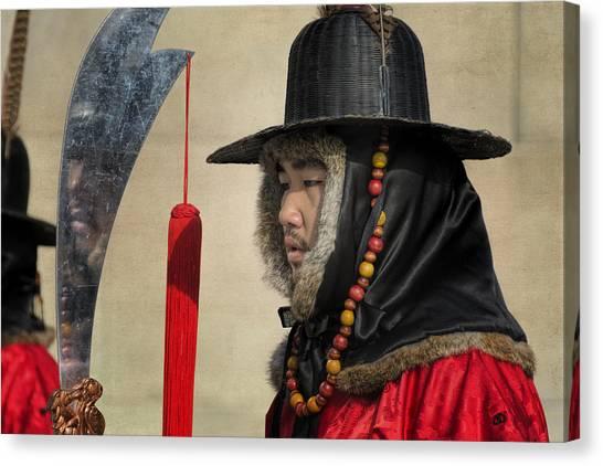 Royal Guard Canvas Print - Guard At Gyeongbokgung by Joan Carroll