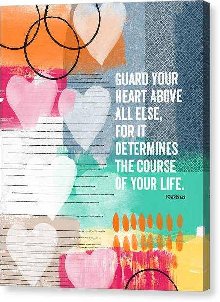 Bedroom Canvas Print - Guard Your Heart- Contemporary Scripture Art by Linda Woods