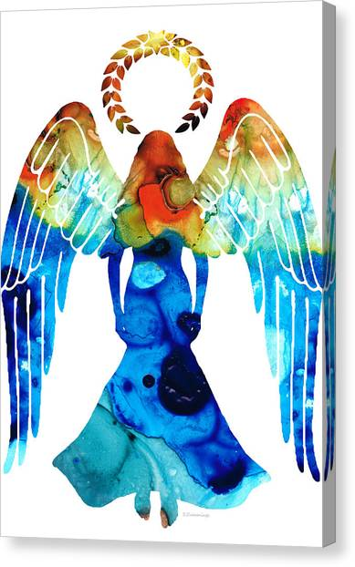 Mercy Canvas Print - Guardian Angel - Spiritual Art Painting by Sharon Cummings