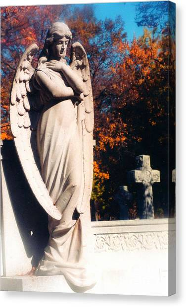 Guardian Angel Statue With Cemetery Cross Canvas Print by Kathy Fornal