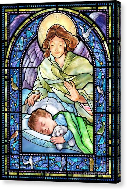 Guardian Angel With Sleeping Boy Canvas Print