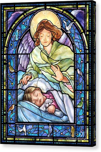Guardian Angel With Sleeping Girl Canvas Print