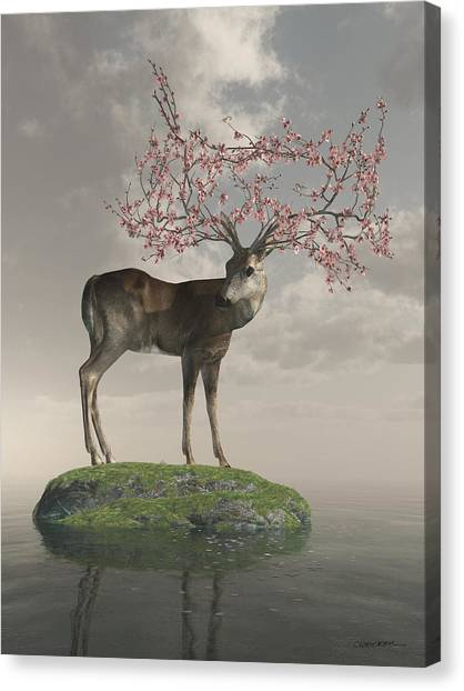 Raining Canvas Print - Guardian Of Spring by Cynthia Decker