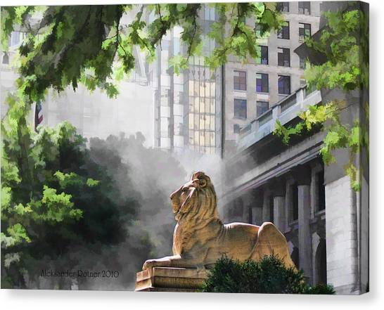 Guarding The Grand Library Canvas Print