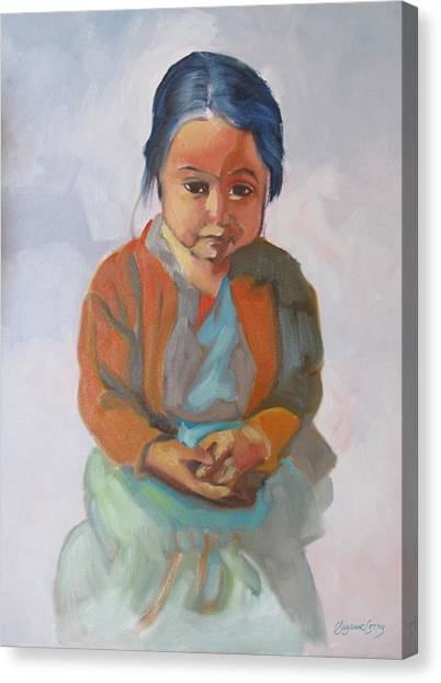 Guatemalan Girl With Folded Hands Canvas Print