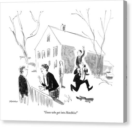 Shoulders Canvas Print - Guess Who Got Into Hotchkiss! by James Stevenson