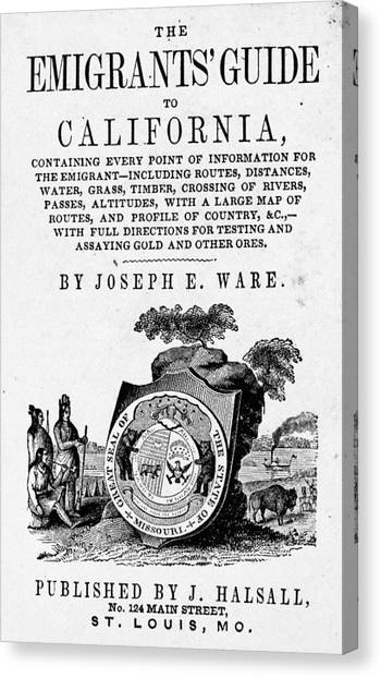 Instructions Canvas Print - Guide To California, 1849 by Granger